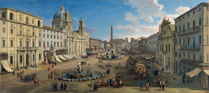 Piazza Navona in Rome. Een van de 35 olieverven van Van Wittel op de expositie in kunsthal KAdE.