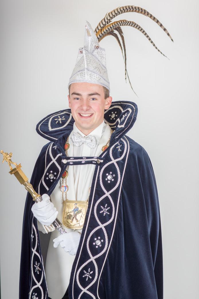 Prins Mart (Rooijakkers) dun uurste van de Stiphoutse Spurriezeiers.