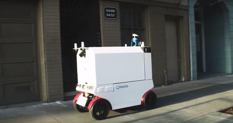 Het bedrijf Marble uit San Francisco bezorgt maaltijden met 'buurtrobots '.