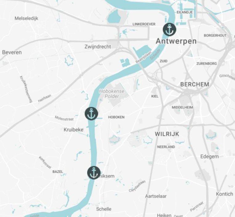 Het traject van de eerste Waterbus.