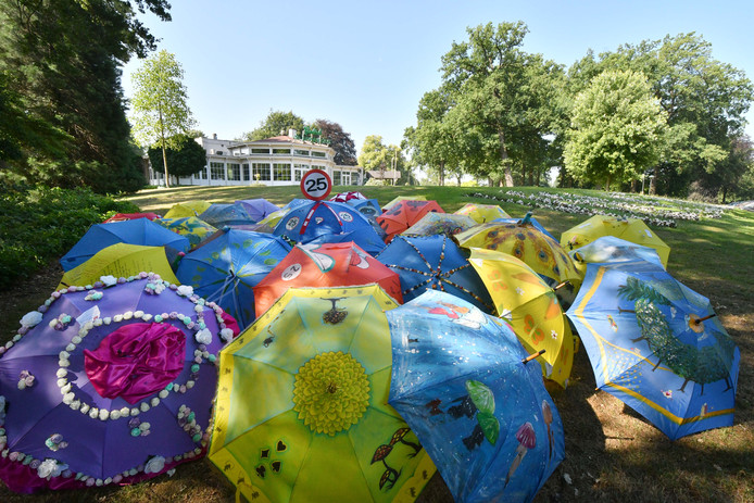 Tientallen kleurrijk versierde paraplu's zijn zondag te bewonderen in het Enschedese Volkspark.