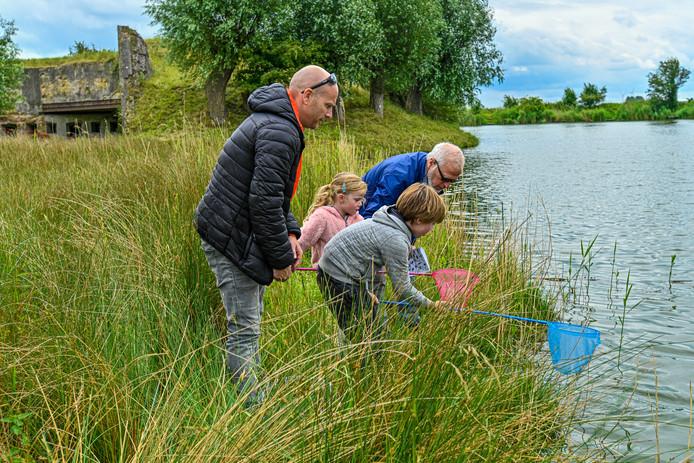 Kinderen ontdekken wat er in het water leeft bij Fort Sabina.