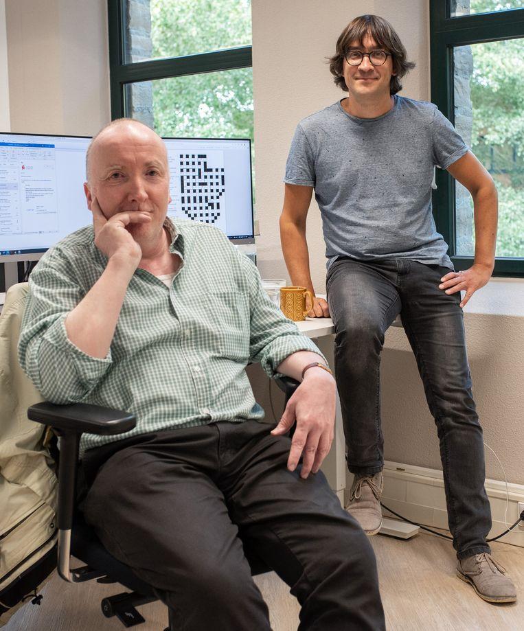 Mark Leenen en Jeffrey Wagemakers: 'Een deel van de puzzels die nu online staan, zijn anders dan de puzzels in de papieren krant.' Beeld Sabine van Wechem