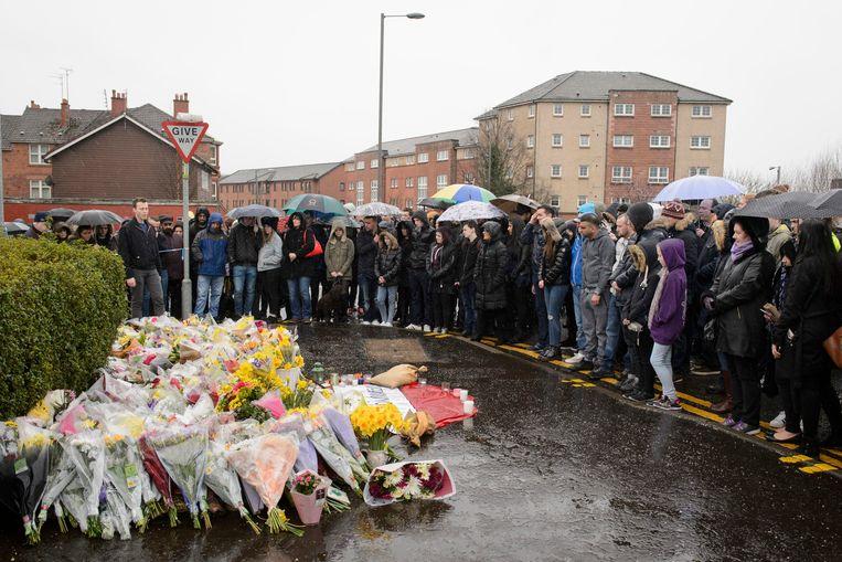 Een wake voor de in maart 2016 in Glasgow vermoorde tijdschriftenhandelaar Asad Shah (40).  Beeld AP