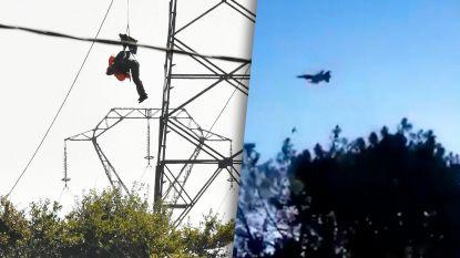 Beelden tonen overvliegende Belgische F-16 seconden voor crash, piloten gebruiken schietstoel en blijven ongedeerd