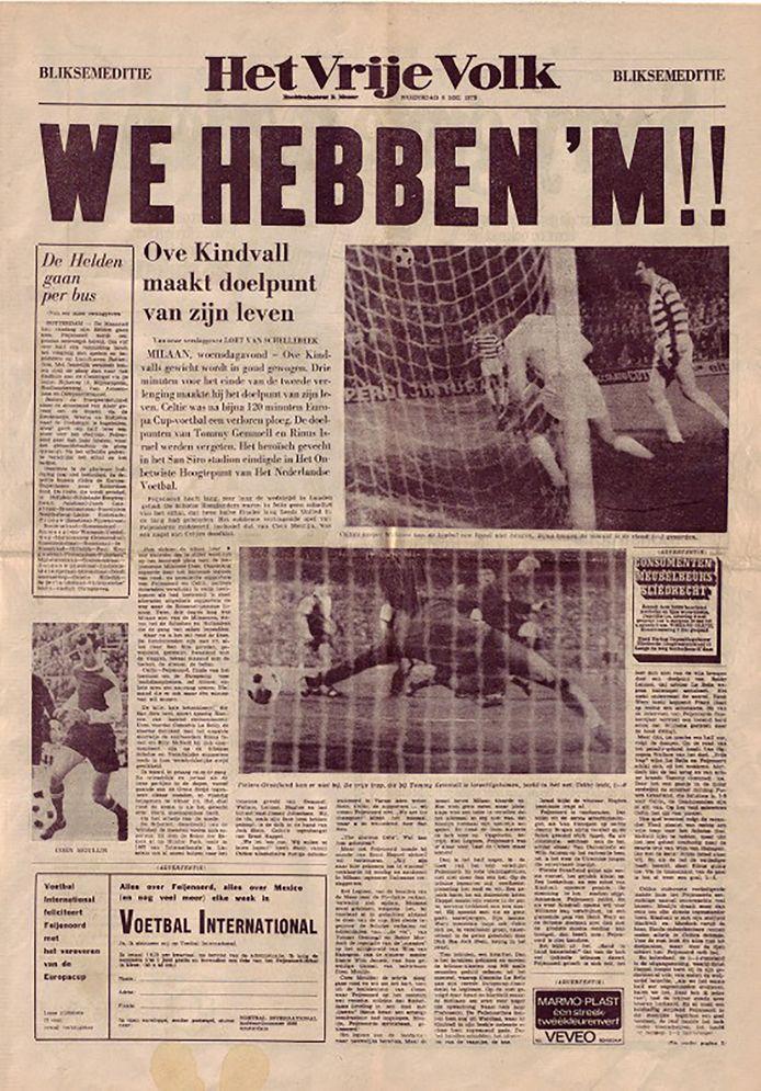 De voorpagina van Het Vrije Volk, de dag na de finale