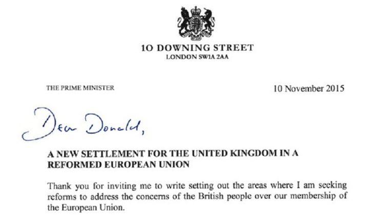 De brief van David Cameron aan Donald Tusk. Beeld getty