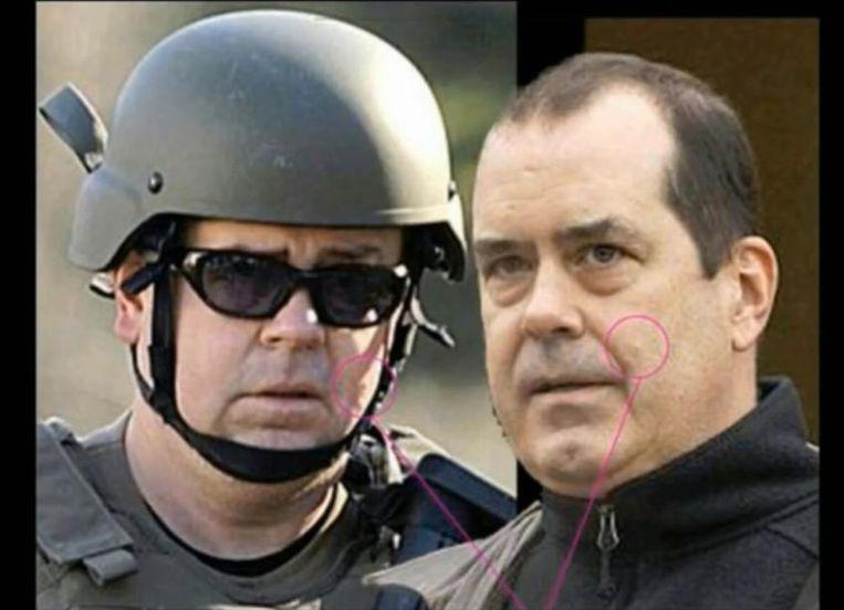 De foto's die zouden moeten bewijzen dat David Wheeler een politieman is. Beeld