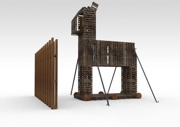 De installatie dat lijkt op het paard van Troje.