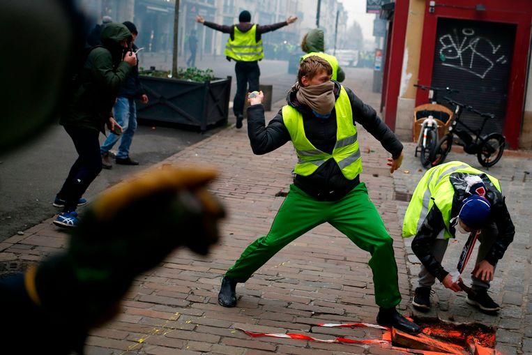 Demonstranten in Rouen, Normandië. Beeld AFP