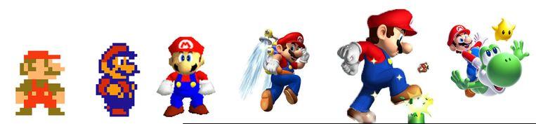 De evolutie van Super Mario van belangrijkste bijrol in Donkey Kong uit 1981 (links) via Super Mario Bros. uit 1985 (tweede van links) tot zijn huidige verschijning. Beeld Nintendo