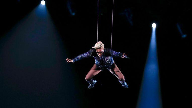 Lady Gaga bij de halftimeshow van de Super Bowl. Beeld epa