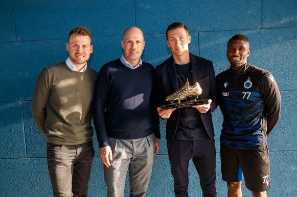 De triomfators van Club op de Gouden Schoen: Mignolet, beste doelman, Clement, beste trainer, Vanaken, Gouden Schoen en Mata, mooiste goal.