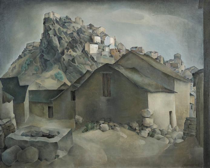 Het door Marcel Klep aan Museum More geschonken schilderij van de neorealist Wim Schuhmacher. Het vers ontdekte werk krijgt de titel 'Gezicht op Corte' mee.