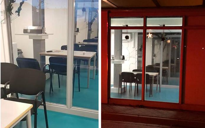 Binnenin spiegeling (links) en vanaf buiten vrije inkijk (rechts).