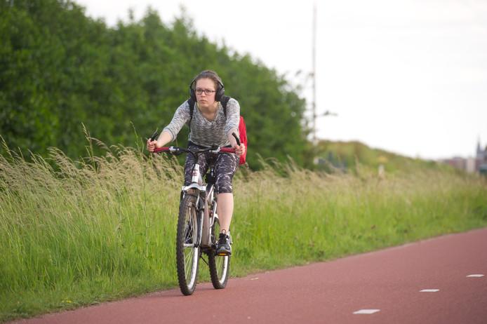 Een fietser op het RijnWaalpad.