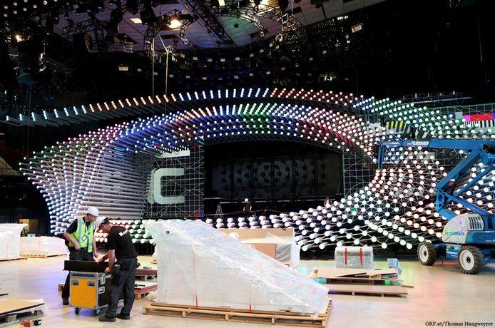 InterStage B.V. uit Meppel tekent onder meer voor de constructie van het podium bij het Eurovisie Songfestival in Wenen.