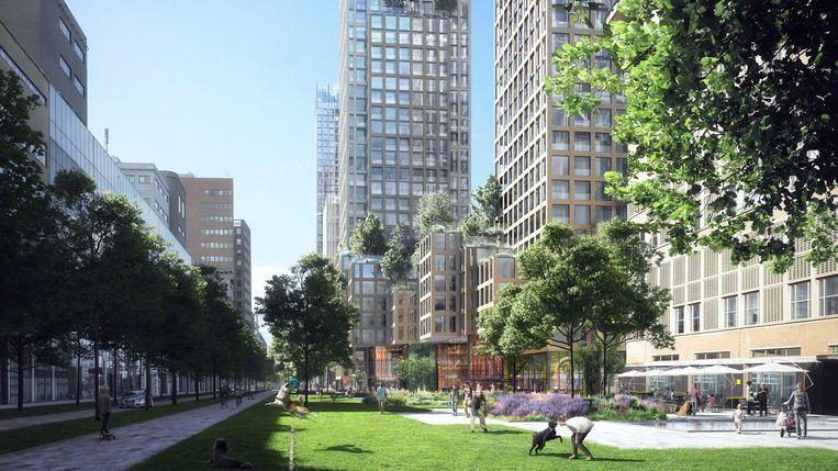 Den Haag wil tienduizend woningen rond Den Haag Centraal Station, Hollands Spoor en station Laan van NOI. Beeld Gemeente Den Haag