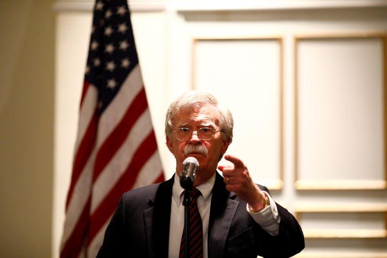 De Amerikaanse nationale veiligheidsadviseur John Bolton maandag tijdens zijn optreden bij de Federalist Society, een conservatieve organisatie in Washington. Beeld REUTERS
