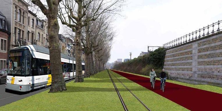 Lang de spoorwegberm in de Stanleystraat komt een fietspad van vier meter breed.