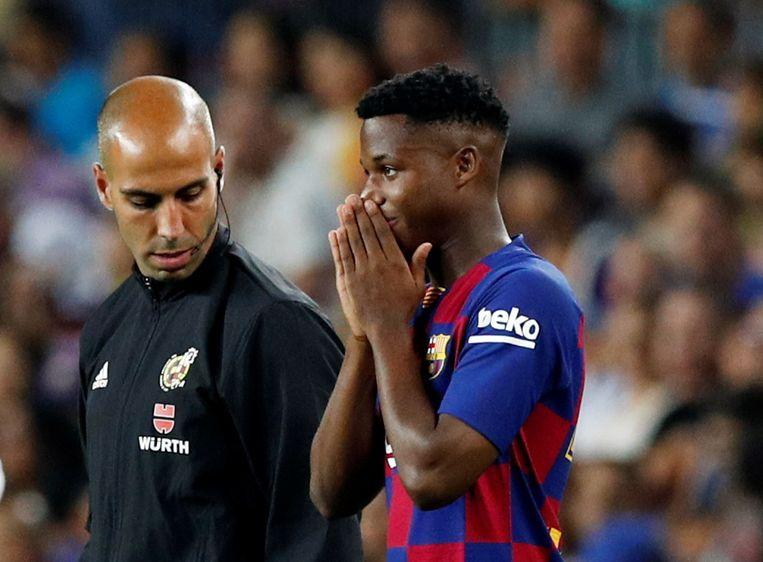 De amper 16-jarige Anssumane Fati mocht zijn debuut maken bij Barça.
