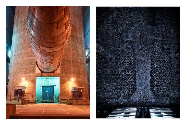 Links: de voet van de 175 meter hoge schoorsteen heeft een diameter van 17,47 meter en rust op een betonnen plaat met een dikte van 2,30 meter. Deze plaat wordt ondersteund door 215 heipalen die 27 meter lang zijn.  Rechts: Tijdens de revisies worden de condensors schoongemaakt. De zes gevaartes worden geopend om de aangegroeide algen weg te halen. Zodra je die algen ziet, begrijp je waarom de wildgroei ook wel apenhaar wordt genoemd. De schoonmaak is een pittig klusje. Een buitenfirma is wel twee tot drie dagen zoet met het kuisen van een condensor. Beeld Henk Wildschut