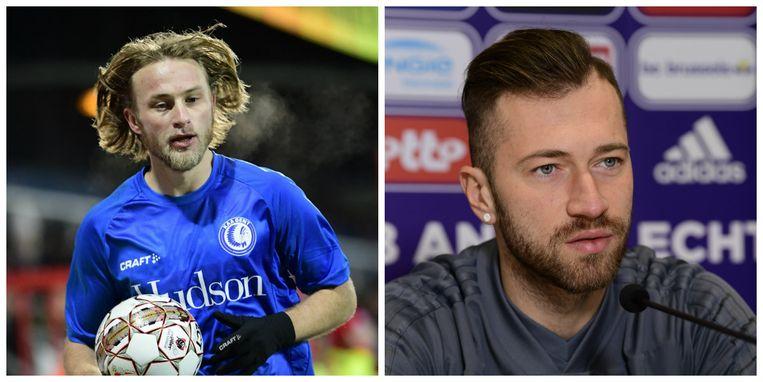 Links Roman Bezus, die STVV ruilde voor AA Gent. Rechts Peter Zulj, de nieuwe draaischijf van Anderlecht.