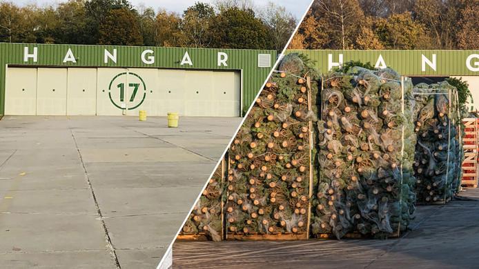 Vorig jaar (rechts) stonden de kerstbomen nog metershoog op het voormalige vliegveld