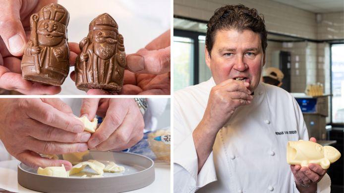 Topchocolatier Herman Van Dender proeft melk- en witte chocoladefiguren uit de supermarkt.