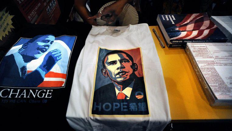 Shirts met een beeltenis van Barack Obama. Beeld afp
