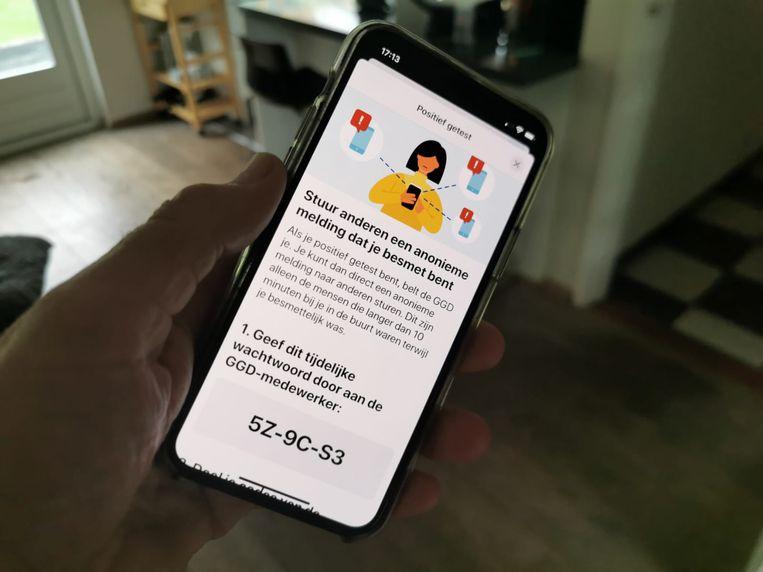 De testversie van de corona-app Beeld Laurens Verhagen