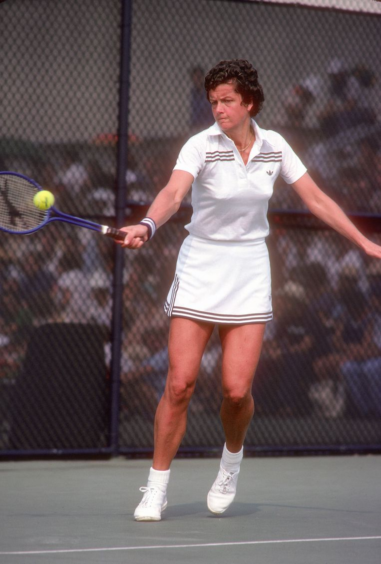 Betty Stöve in actie op de US Open in 1979. Zij won dat jaar het vrouwendubbelspel (met partner Wendy Turnbull). Beeld Getty Images