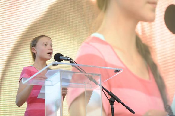 Klimaatactiviste Greta Thunberg tijdens haar toespraak vrijdag in New York.