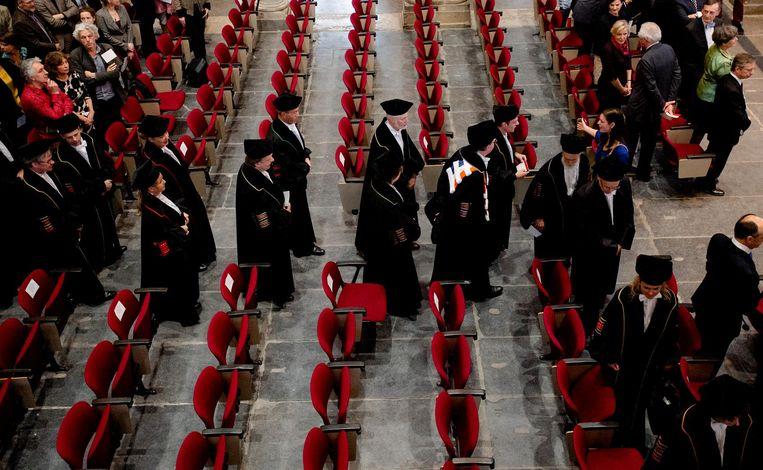 Het hooglerarencortège van de Universiteit van Amsterdam. Beeld anp