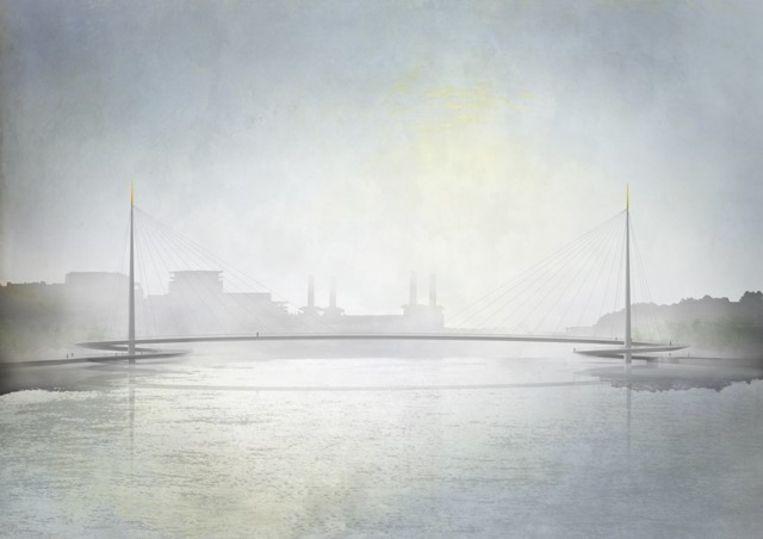Het ontwerp voor de brug van bureau Bystrup. Beeld