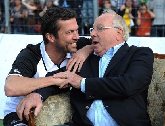 Lothar Matthäus hier met legende Uwe Seeler (rechts).