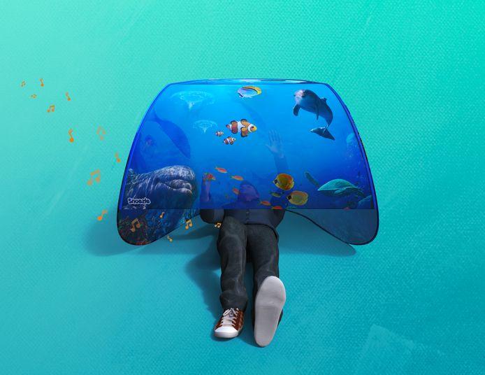 Snoezle is een tentje met digitaal bedrukte afbeeldingen en geluid- en lichtmodules. Het helpt om bijvoorbeeld kinderen met autisme, dementerenden en mensen met een verstandelijke beperking tot rust te brengen.