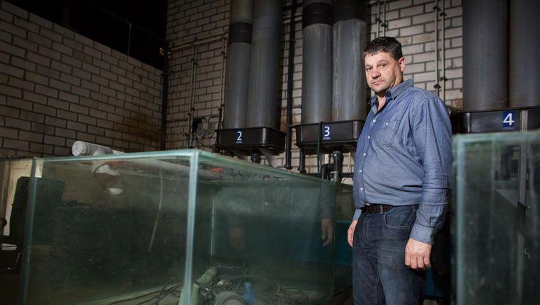 Viskweker Coen Coumans uit Limburg meent dat zijn viskwekerij failliet gegaan is door een subsidie van het ministerie aan een concurrerende kweker. Beeld Maikel Samuels