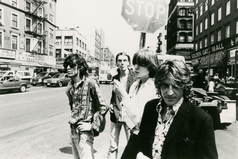 Vlnr: Richard Janssen, Geert de Groot, Robin Berlijn en Henk Jonkers, eind jaren tachtig in New York.