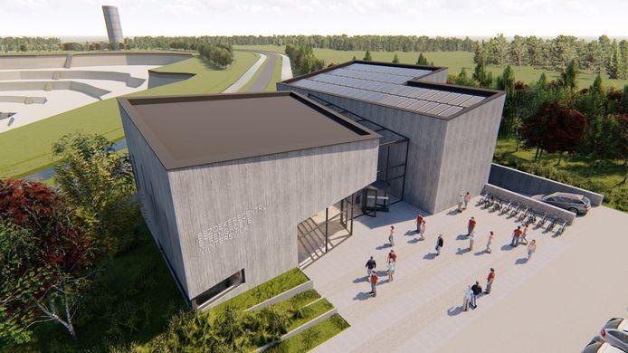 Voorlopig ontwerp van het bezoekerscentrum Terra Temporalis bij de steengroeve in Winterswijk door  Maas Architecten Lochem.