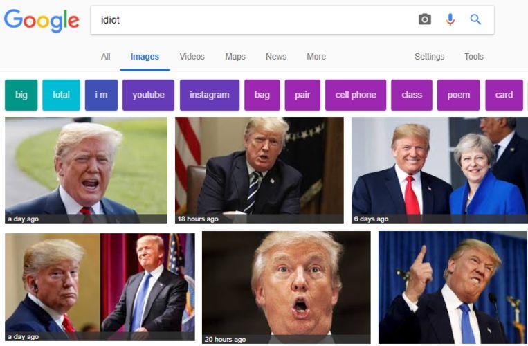 Zeven van de tien zoekresultaten zijn momenteel van Trump.