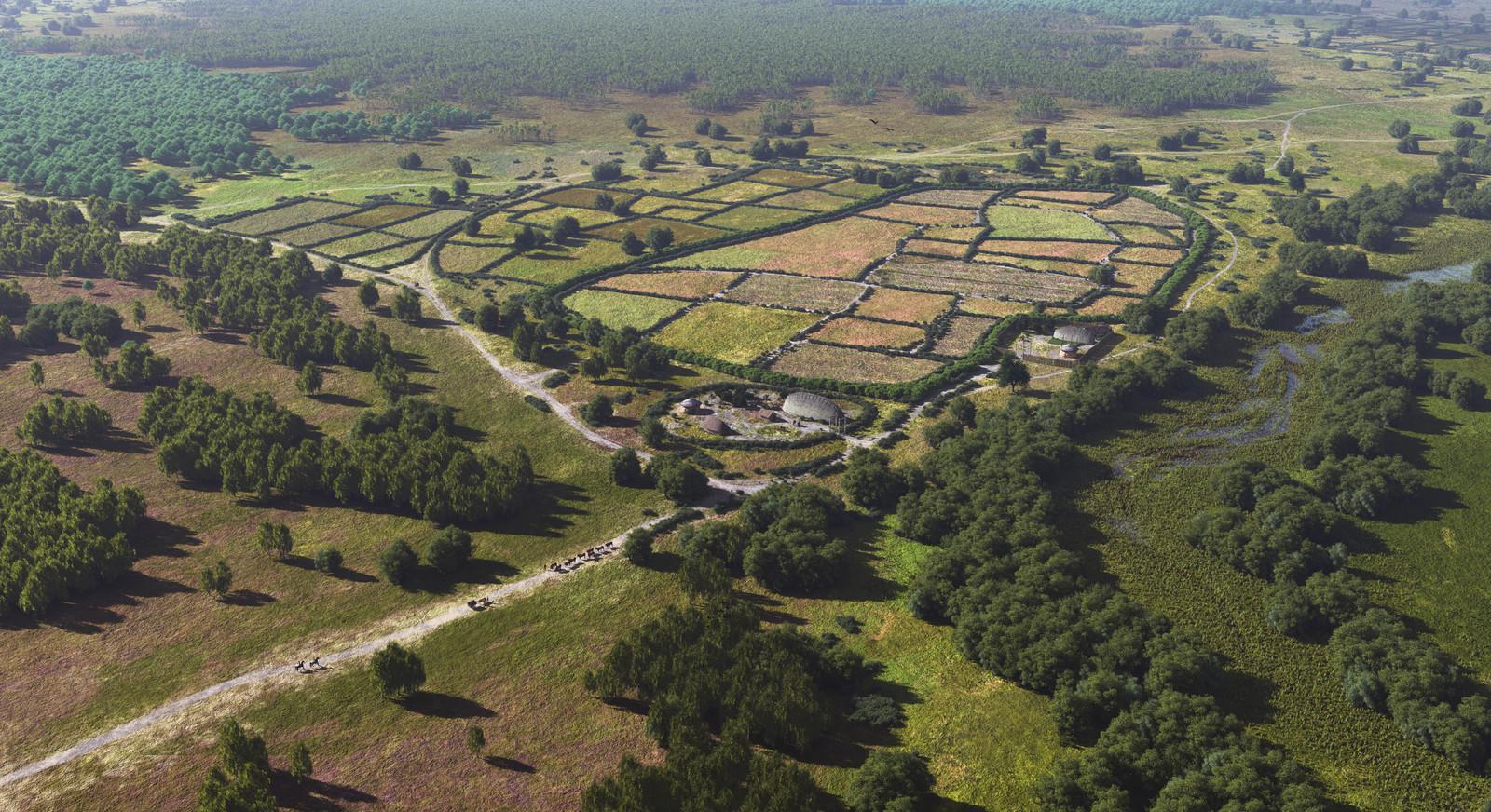 Een impressie van Brabant in de vroege Middeleeuwen: het gehucht Aarle bij Best.