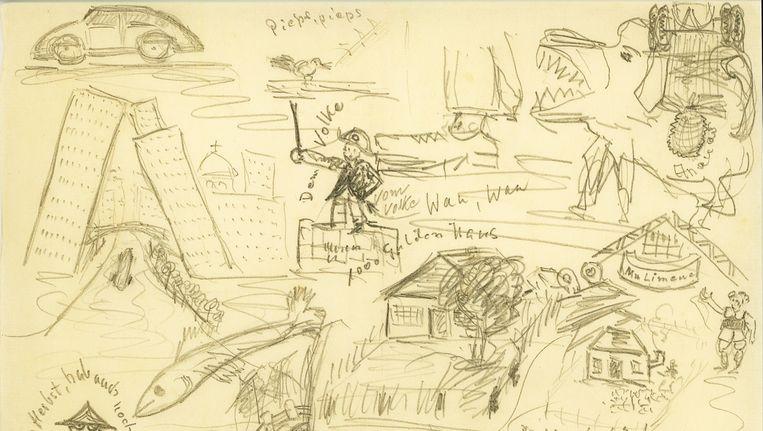 Fragment van een schets van nazi-arts Mengele. Beeld AFP