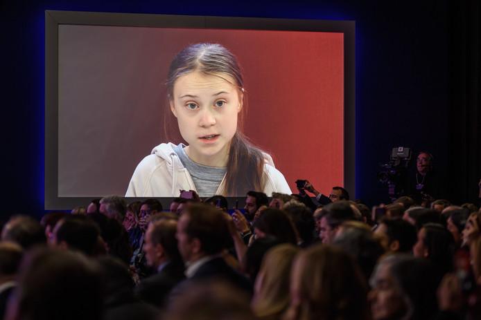 De belangstelling voor Thunbergs boodschap in Davos is groot.
