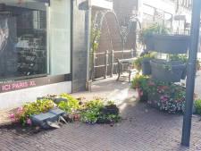 Vandalen gooien plantenbakken omver in Langestraat