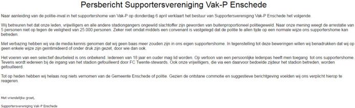 Het persbericht van Vak-P.