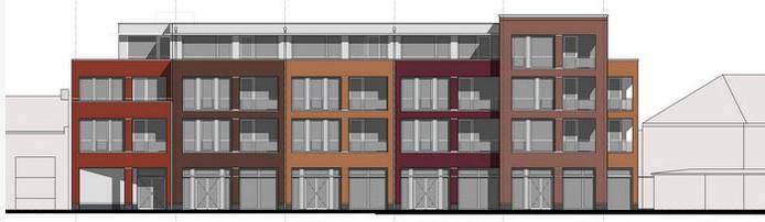 Het voorlaatste ontwerp van het appartementencomplex