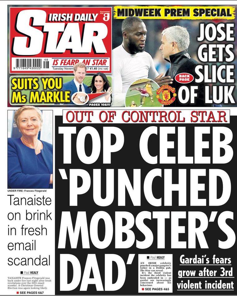 De voorpagina gisteren van de Irish Daily Star.