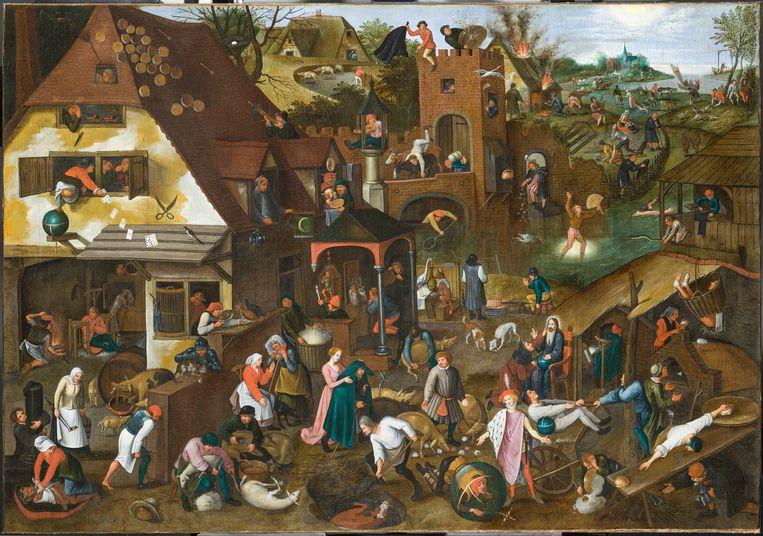 Pieter Bruegel II naar Pieter Bruegel, 'De Blauwe Huik (spreekwoorden)', ca. 1625. Beeld Frans Halsmuseum, Haarlem