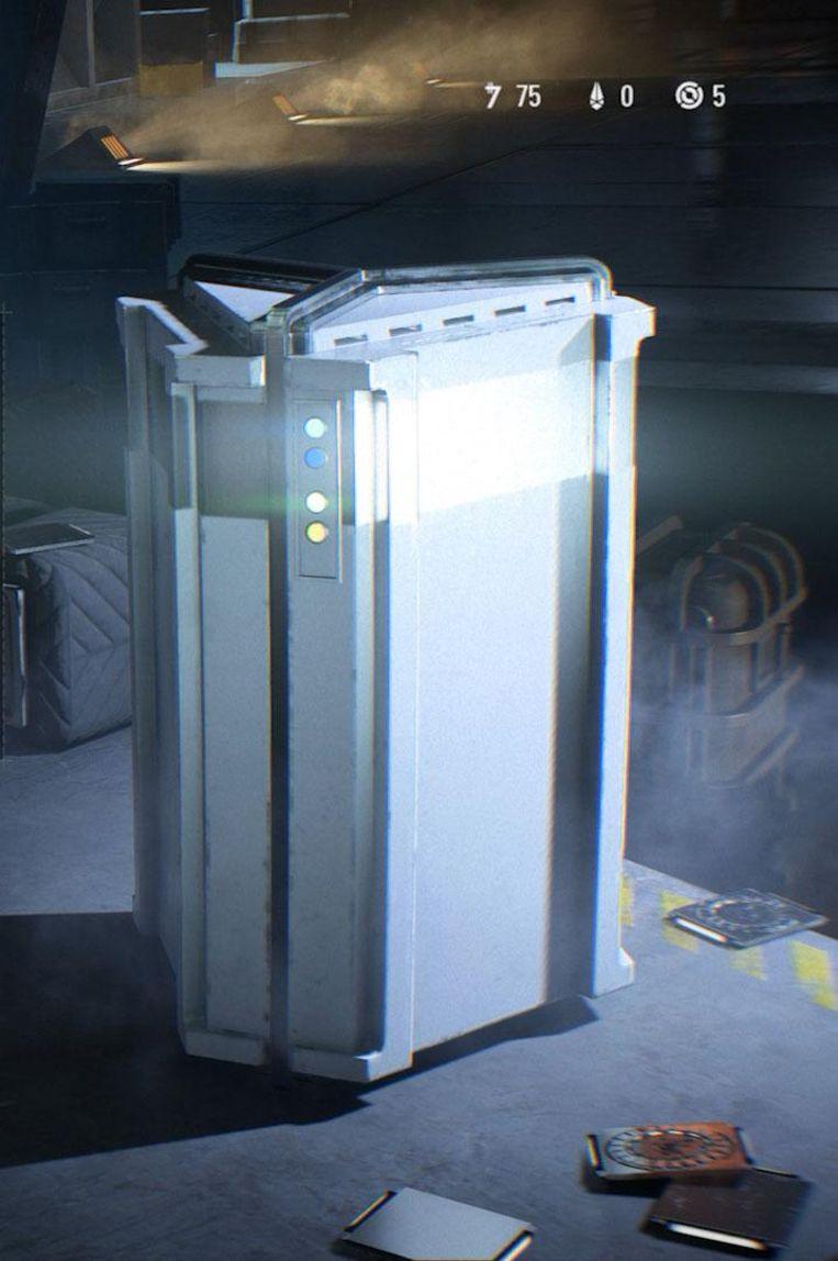 Een loot box (of crate) uit Star Wars Battlefron II. Hij bevat voorwerpen die een gamer sterker maken dan zijn tegenstanders. Beeld Dice